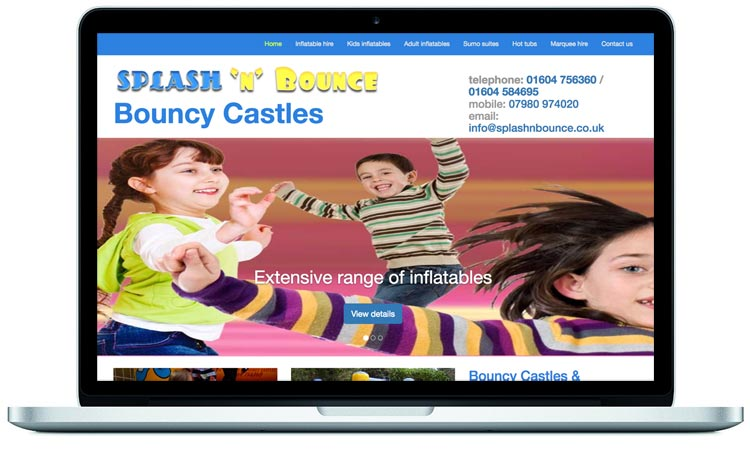 promotional website design for a bouncy castle hire company