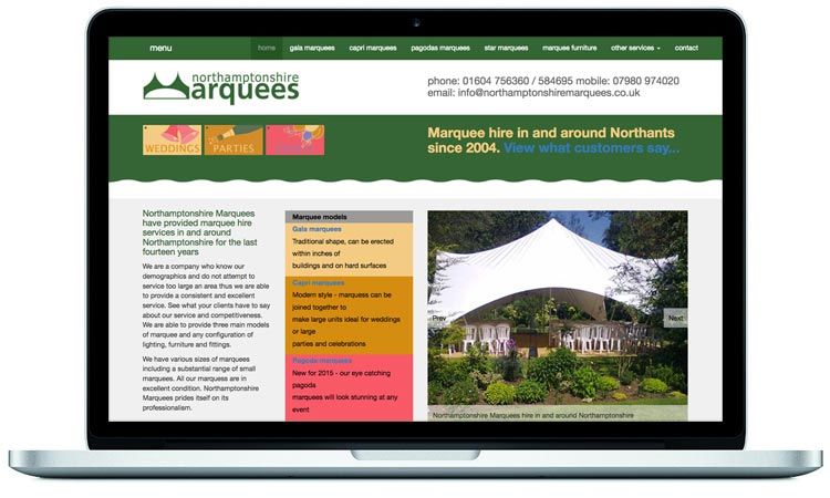 Marquee hire company website designed by Mckie Associates