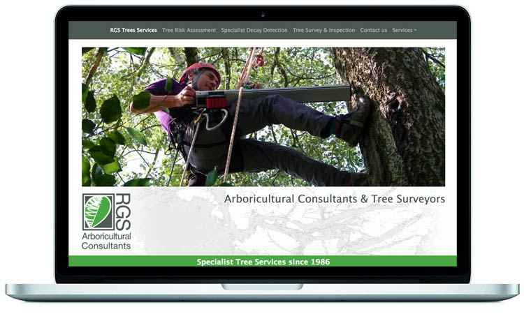 Arboricultural company website designed for RGS Tree Services by Mckie Associates